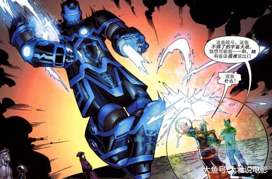 钢铁侠不愧是真正的天才, 将天神组改造成装甲, 一人单挑灭霸!