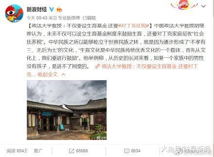 """中国政法大学教授胡继晔回应""""丁克征税论"""": 之前的观点被误读, 丁克家庭可从个税抵扣部分实现""""不鼓励"""""""