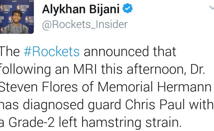 不幸中的万幸! 保罗二级推伤, 缺席2-3周, 火箭感应悲观