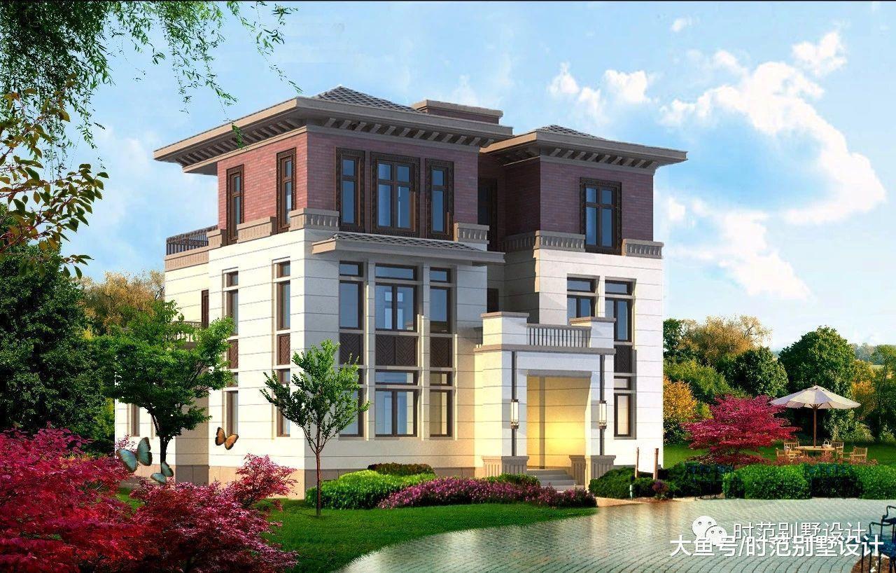 16x12米新中式三层复式别墅, 带车库多露台, 美观大气图片