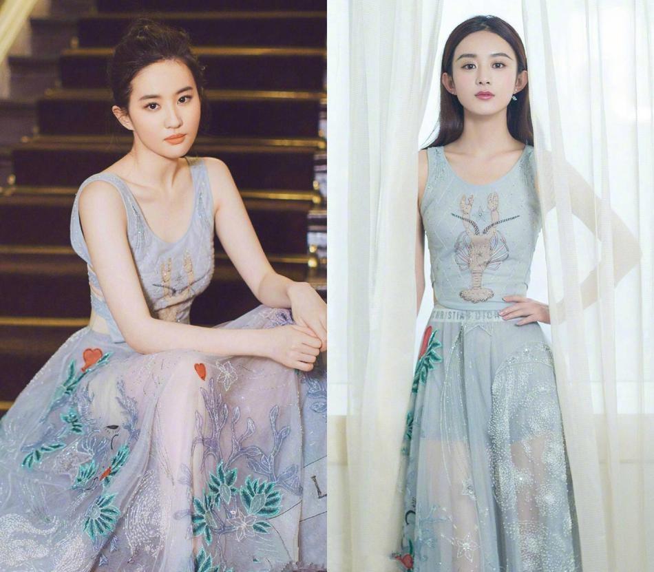 当赵丽颖与刘亦菲各种撞衫,我终于知道身材丰满对女人有多重要!