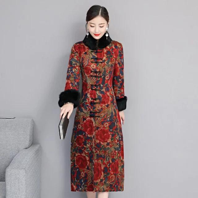 聚酯纤维长旗袍,加厚款,优雅、温度并存!