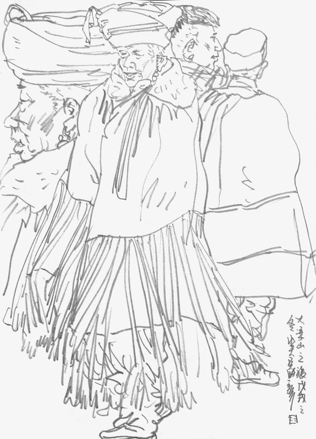 彝族风格简笔画