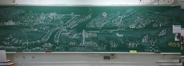 先生只是随心道画个《明朗上河图》,隔天那个黑板谁忍心擦啊