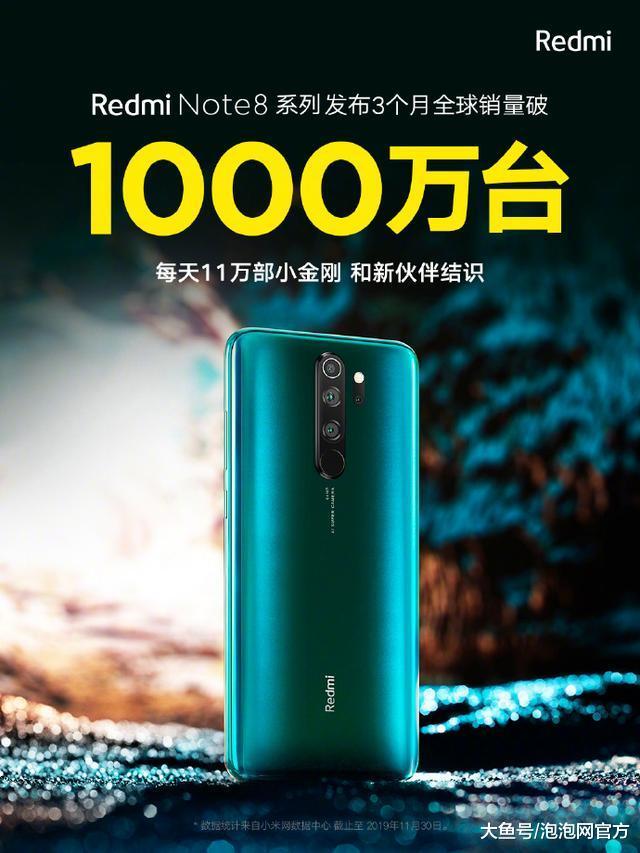 仅3个月!红米Note 8系列全球销量破1000万台,每天卖出11万部