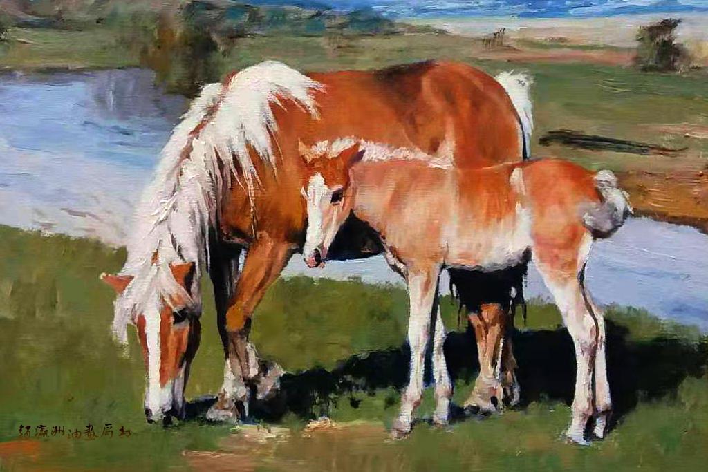 赵瀛洲这些马的油画这么美,原来他是冯法祀的弟子图片
