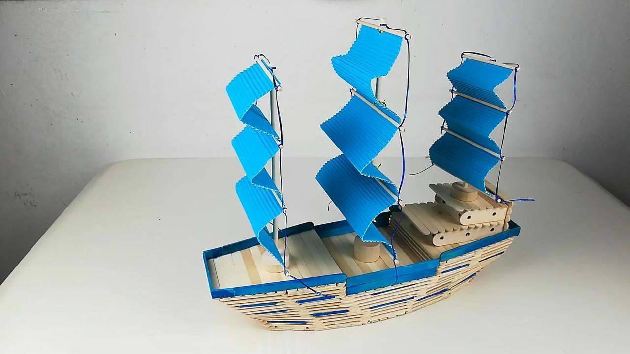 「DIY模块系列」用雪糕棍搭建小型风帆模子的办法,异常时兴