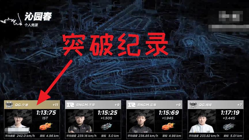 QQ飞车SPL春季赛,宁清沁园春超神单人领跑,突破赛道最快纪录!