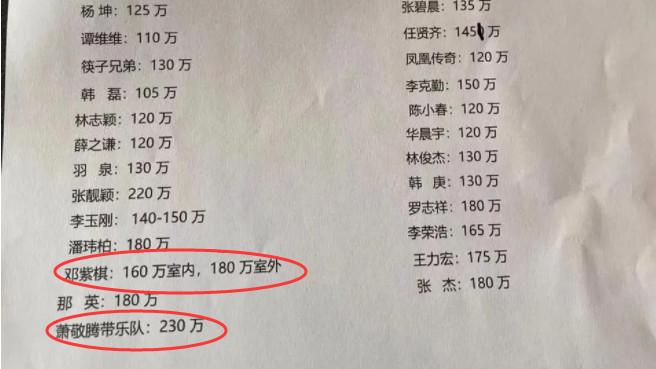 一线歌手出场费曝光,李宗盛才95万,她室内室外价格还不一样?