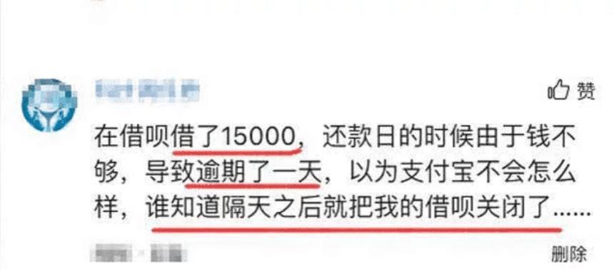 女子借呗15000,逾期一天赶紧还清,支付宝的回应,网友: 太狠了!