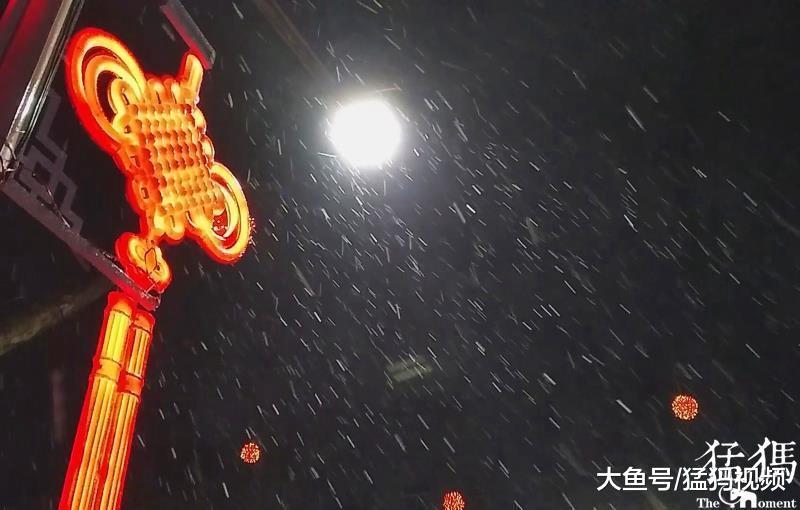 飞雪涂鸦夜空 雪夜尽显年的味道