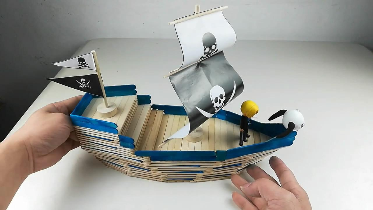 「手办模型系列」用雪糕棍搭建海盗船模型的方法,难度4颗星!