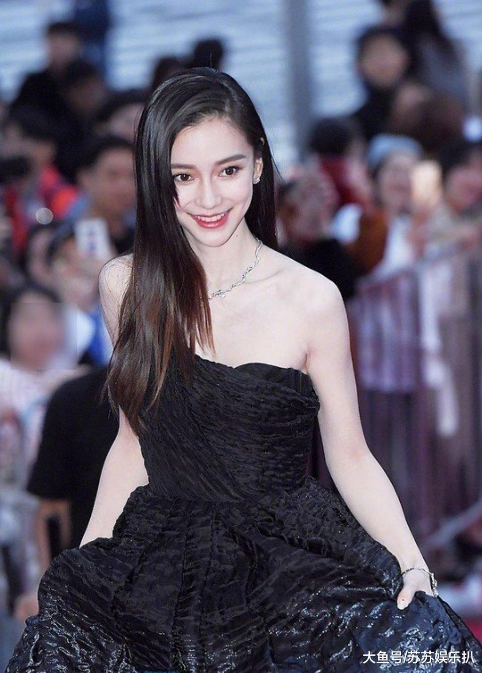Angelababy釜山走红毯,未修图这身材尴尬了,刚下车外国男人的眼神亮了