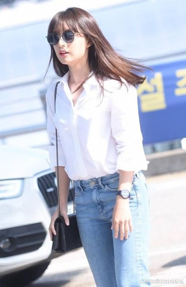 果然颜值即正义,金智媛私服公开,白衬衫+牛仔裤,美到不行!