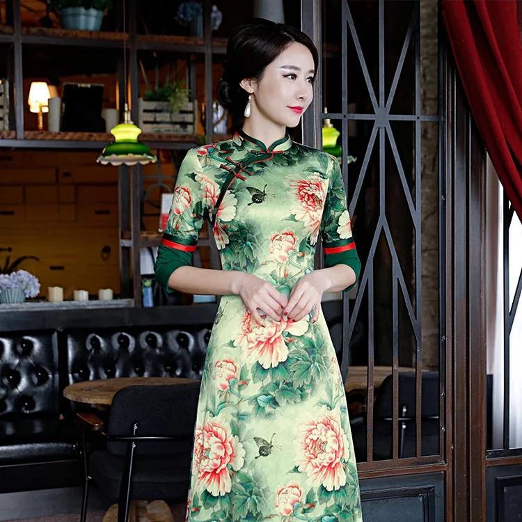 牡丹香云纱旗袍,国色芳华,冬天穿搭更好看!