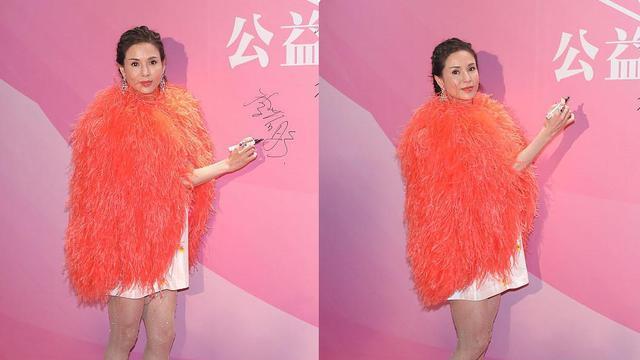 李若彤穿羽毛外套真富态,凭实力证明,原来长相与年龄没关系