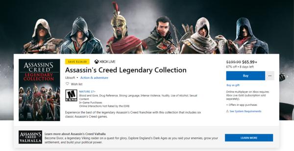 《刺客信条:传奇合集》上架PS/Xbox商城 包含6部作品 ps 刺客信条 xbox one游戏 xbox 手游热点  第2张