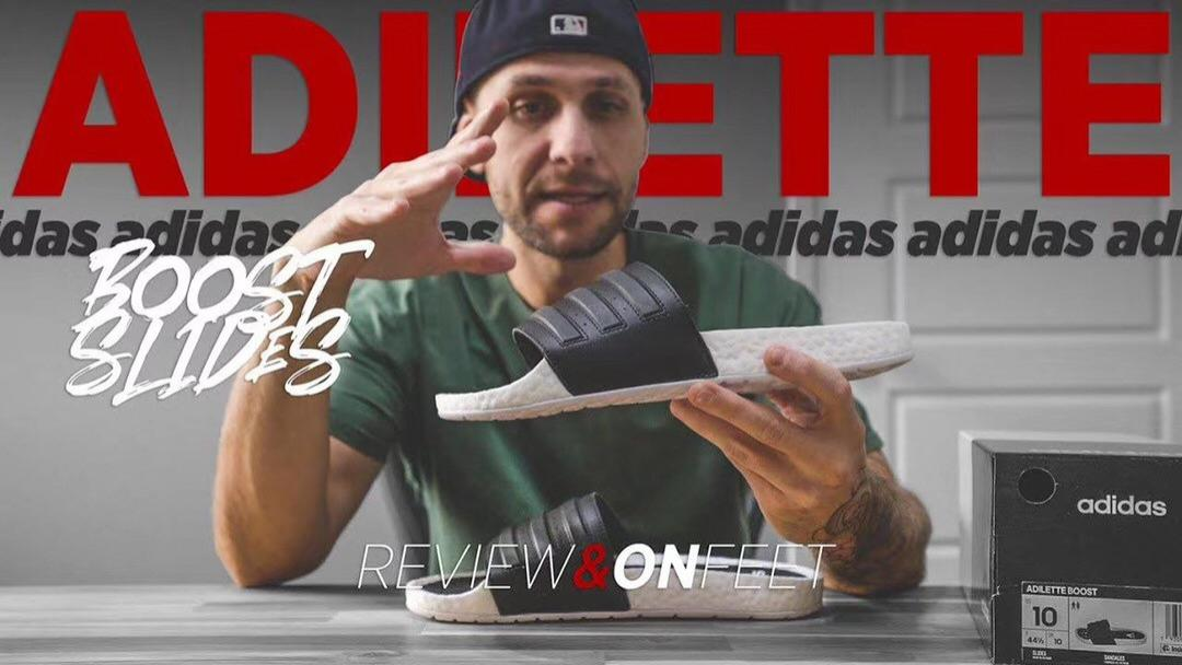 踩屎感最拖强鞋,阿达迪斯adidas Adilette Boost Slides升级改良爆米夏花季休闲运动沙滩字一拖鞋
