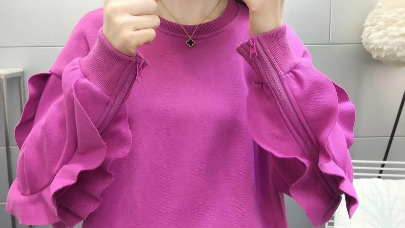 网红纯色慵懒风宽松洋气外套长袖拉链拼接全棉卫衣女荷叶边韩版