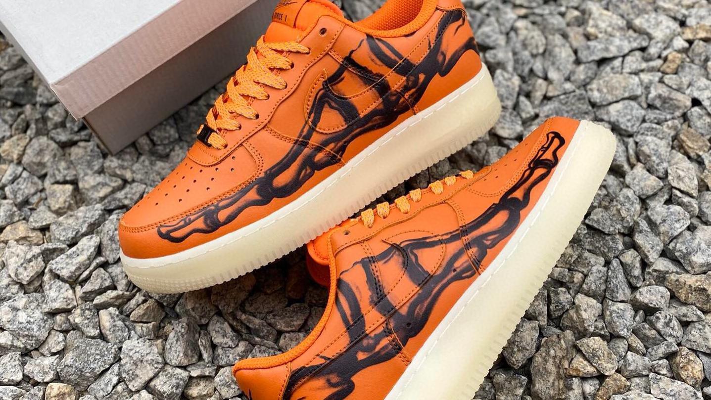 NikeAir Force 1'07 Skeleton QS  万圣节橙黑夜光骨骼限定休闲板鞋