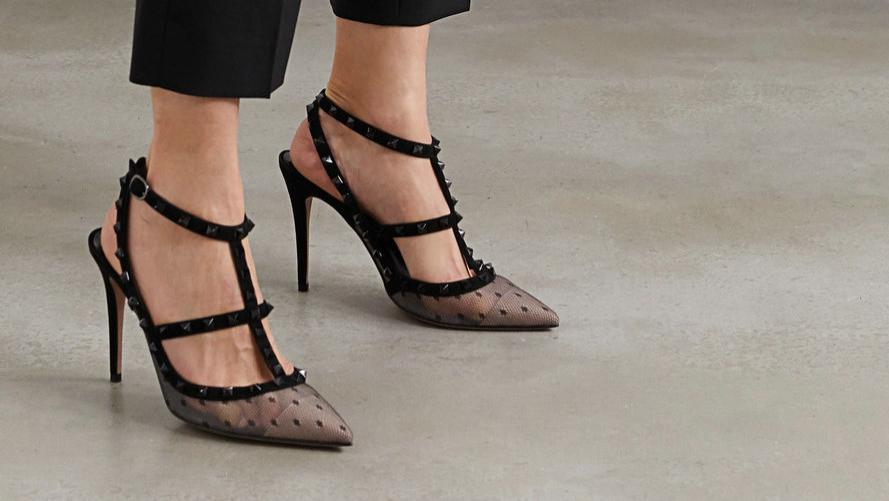 2020春季欧美大牌Valentino 绒面革边饰圆点织花网布超高跟鞋 优雅高贵