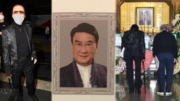 84岁谢贤第一个现身谭炳文丧礼,手拄拐杖表现伤感,戴墨镜难掩憔悴双眼
