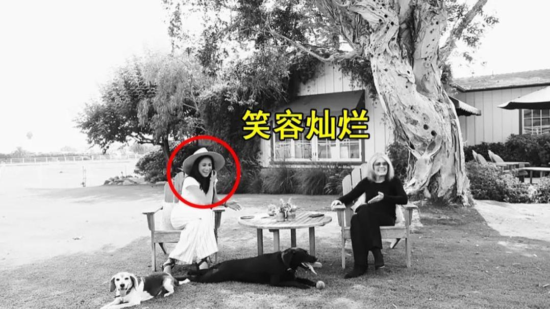 39岁梅根穿T恤加阔腿裤,在自家后院悠然自得,却把女王气得够呛