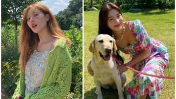 5种野餐穿搭get起来,学韩国女星穿格纹与印花徜徉在草地上