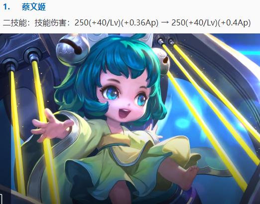 《【煜星平台app登录】王者荣耀:8月11日体验服更新:蔡文姬加强,文姬又能起舞了》