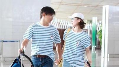 吴奇隆刘诗诗在机场撒狗粮,都穿条纹T恤超减龄,看不出相差16岁