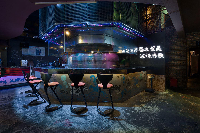 餐厅设计篇   【蜀水传歌】新概念餐厅店餐饮与酒吧结合的烤鱼吧 实景欣赏