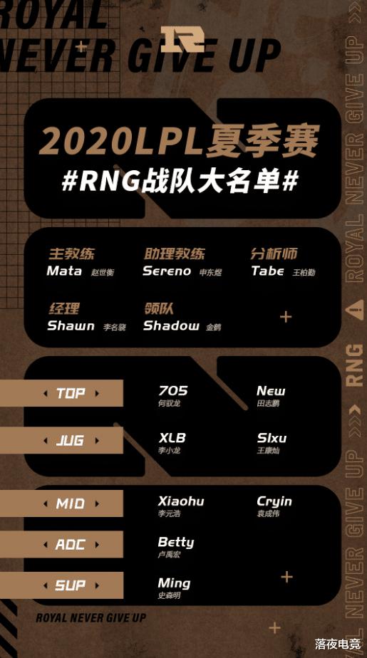 RNG夏季赛大名单出炉 Uzi不在名单内