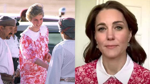 又跟婆婆穿同款?凯特线上直播穿36年前戴妃同款连衣裙,太像了
