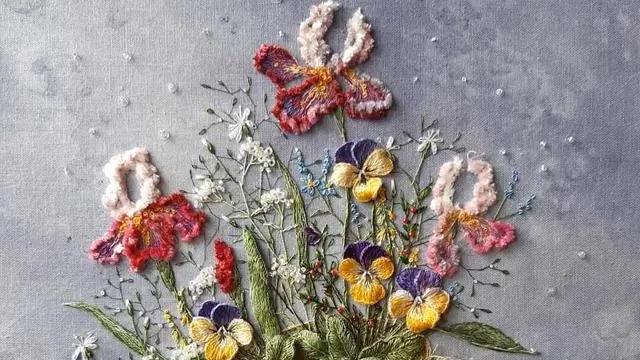 18附精品花草刺绣,DIY手工欧式刺绣,附15种花样刺绣针法
