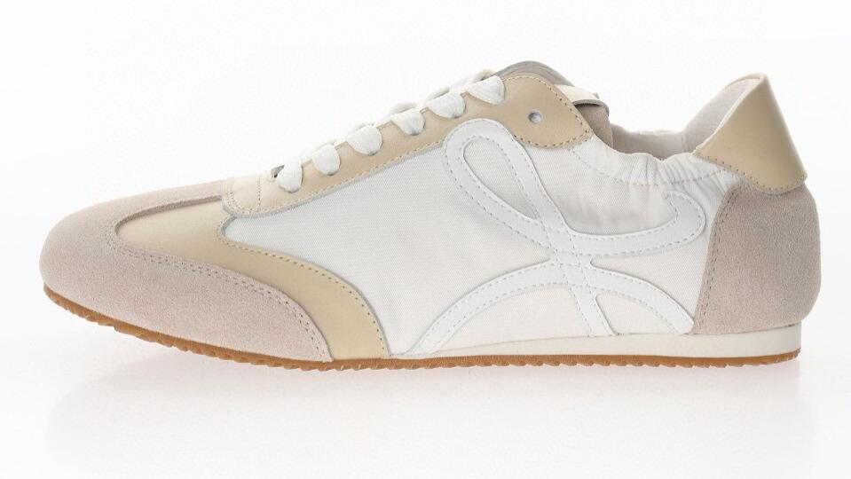 Loewe/罗意威 Ballet Runner Leather Top Sneaker女款拼色系带平底阿甘风复古德训百搭休闲运动芭蕾舞跑鞋