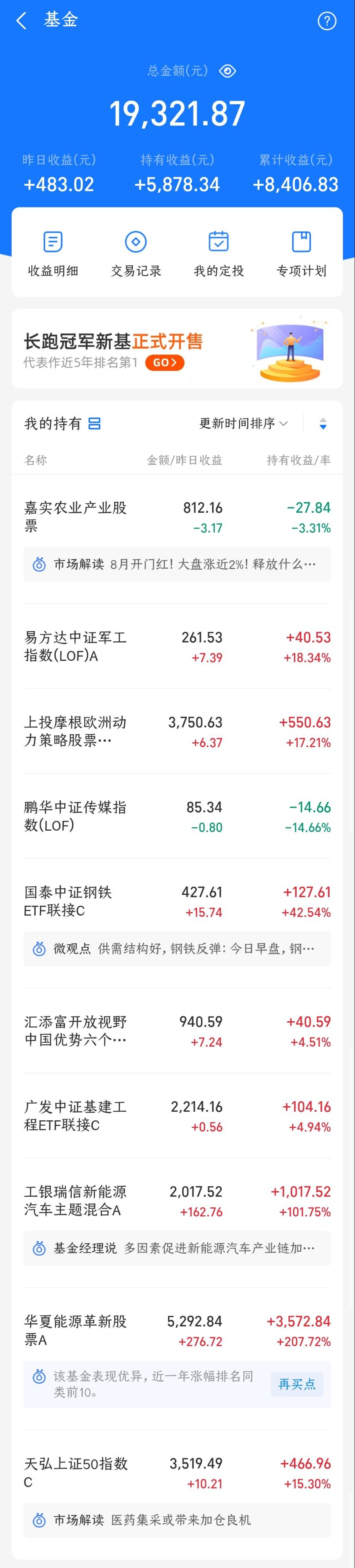 一个小散的基金日报 (万元小仓)2021-08-05