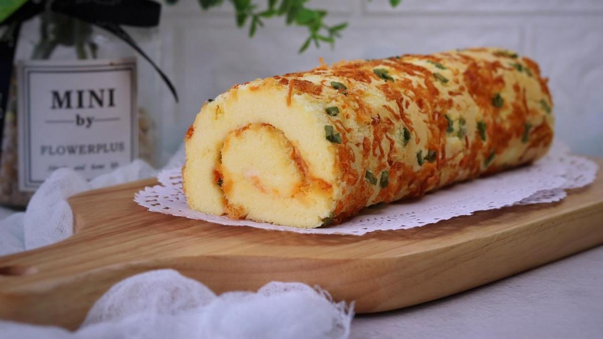 烘焙爱好者必做的肉松蛋糕卷,混合着香葱浓郁的香味,特别好吃