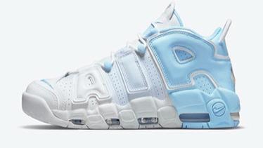 Nike Air More Uptempo皮蓬大AIR撕纸篮球鞋 白淡蓝