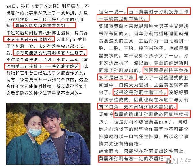 孙莉晒杀青照疑引不满,黄磊被曝想让她再隐退,夫妻俩已有矛盾?