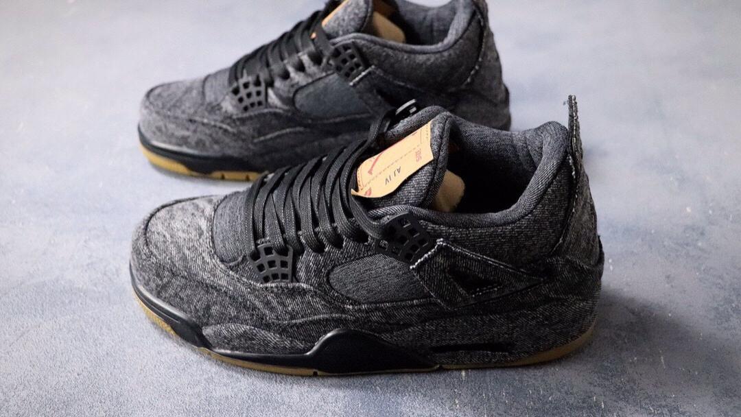 Levi s x Nike Air Jordan 4 Retro Levis Denim 李维斯 黑灰 迈克尔·乔丹AJ4代中帮复古休闲运动文化篮球鞋。