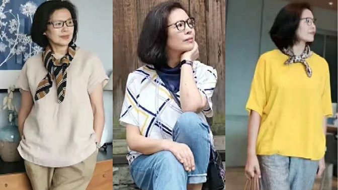 60岁后别总穿打底裤,看看时尚博主的穿搭,简约优雅又很时尚