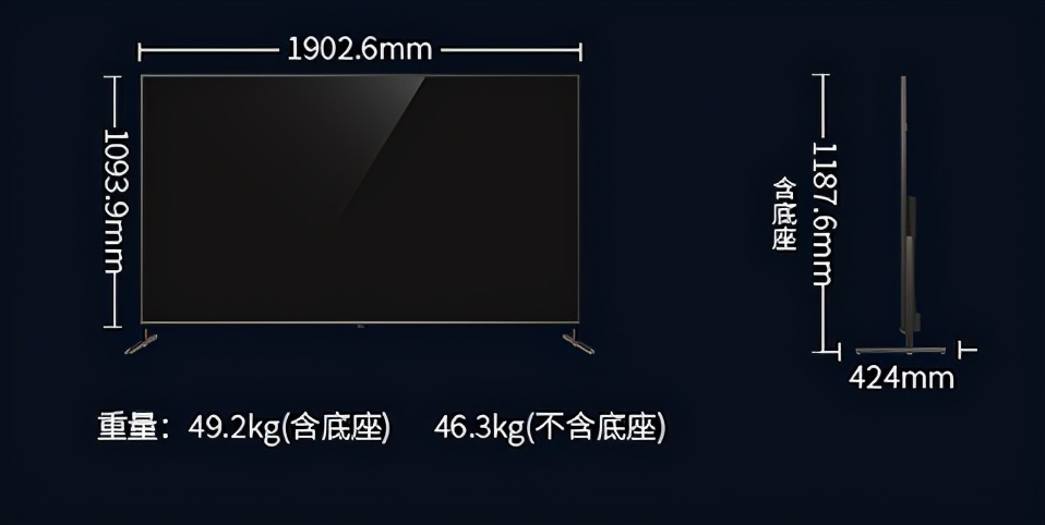再看85英寸电视,电视柜至少需要1.9米长,高度则有1 数码科技 第2张