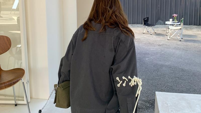 设计感绑带衬衫外套宽松薄款