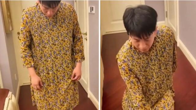 宝爸亲自试穿女装为女儿示范防走光,网友:搞笑但是很暖心!