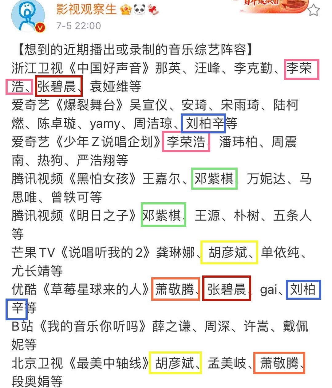 9档待播音乐综艺导师:那英接替刘欢,邓紫棋和张碧晨成最大赢家_滚动娱乐新闻