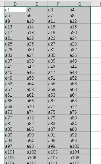 如何把一列2000行的数据转成4列? 好物资讯 第3张