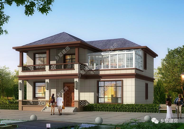 星座  效果图 这栋新中式二层别墅,占地百平,但是还是挺气派的,古韵味