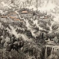 山清峡客国画