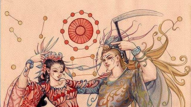 """在""""伏羲女娲图""""中,伏羲和女娲为何手拿圆规和尺子,有何寓意?"""