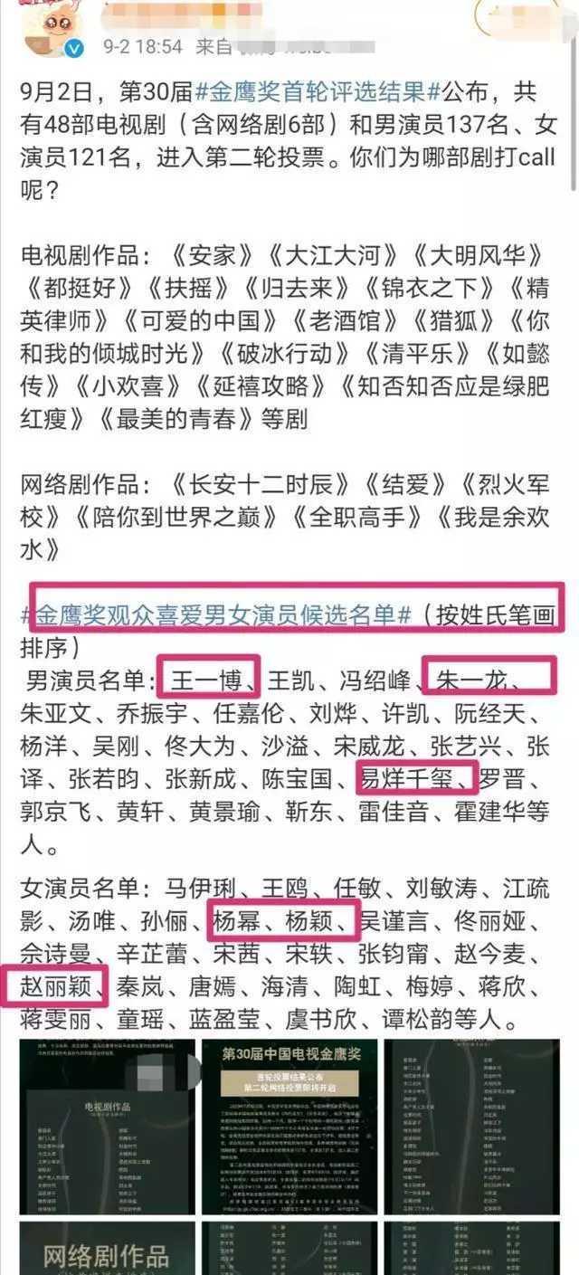 金鷹獎首輪投票公佈,肖戰王一博楊紫無緣,芒果臺作品偏多-圖5